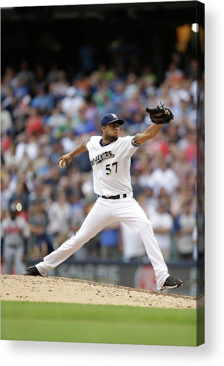 Wisconsin Acrylic Print featuring the photograph Atlanta Braves V Milwaukee Brewers by Mike Mcginnis