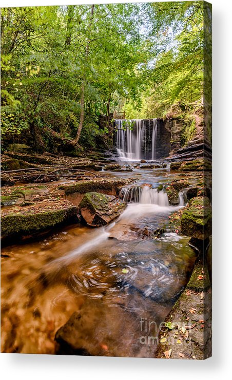 Hdr Acrylic Print featuring the photograph Autumn Waterfall by Adrian Evans