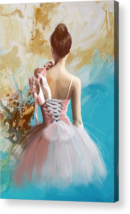 Women Acrylic Print featuring the painting Ballerina's Back by Corporate Art Task Force