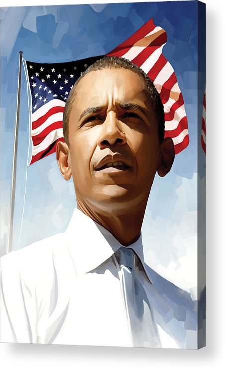 Barack Obama Paintings Acrylic Print featuring the painting Barack Obama Artwork 1 by Sheraz A