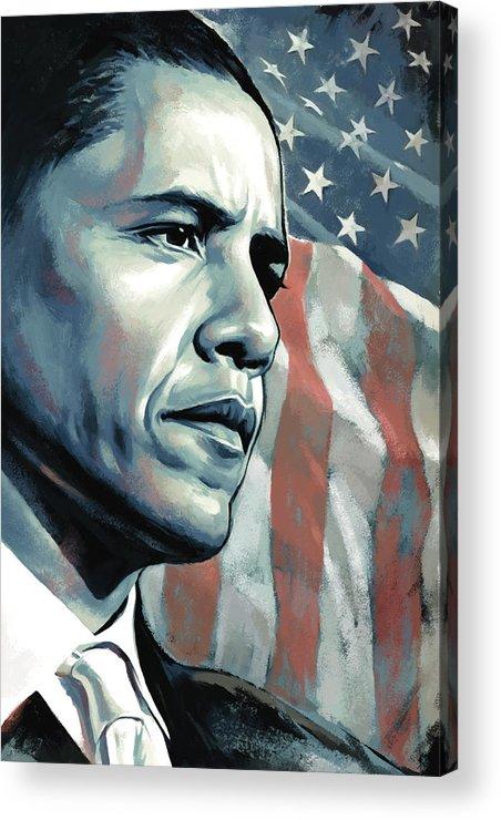 Barack Obama Paintings Acrylic Print featuring the painting Barack Obama Artwork 2 B by Sheraz A