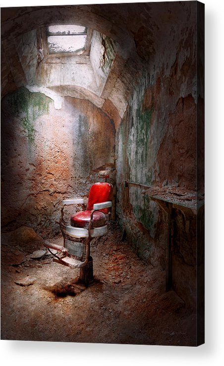 Jail Acrylic Print featuring the photograph Barber - Eastern State Penitentiary - Remembering My Last Haircut by Mike Savad