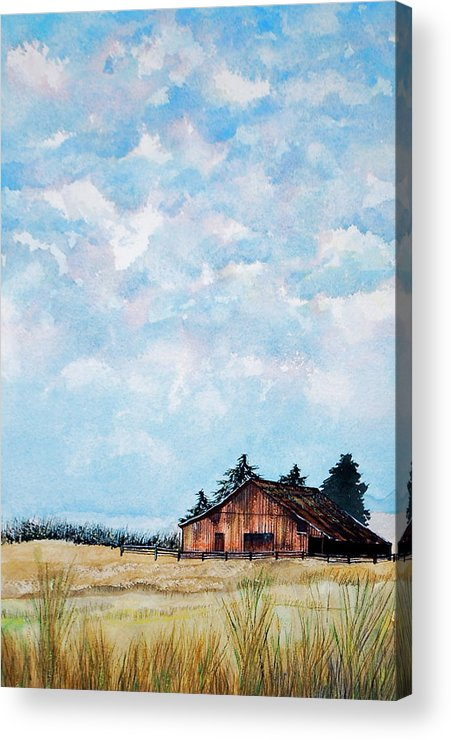 Sky Acrylic Print featuring the painting Barn And Sky by Stephen Abbott