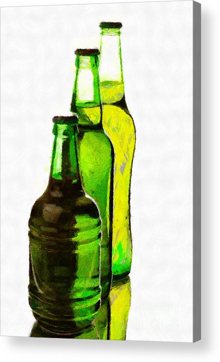 Glass Acrylic Print featuring the painting Beer Bottles Of Different Shapes Painting by Magomed Magomedagaev