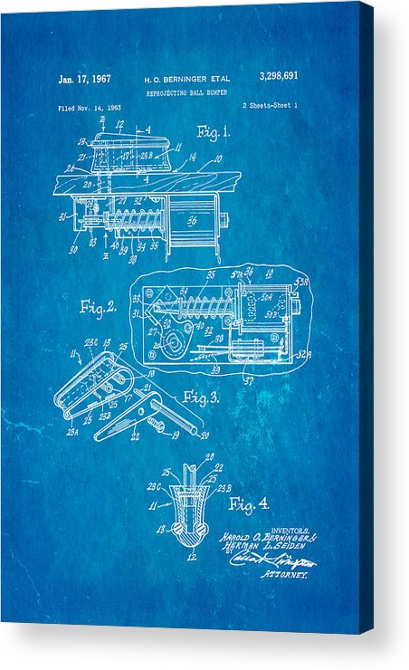 Famous Acrylic Print featuring the photograph Berninger Reprojecting Ball Bumper Patent Art 1967 Blueprint by Ian Monk
