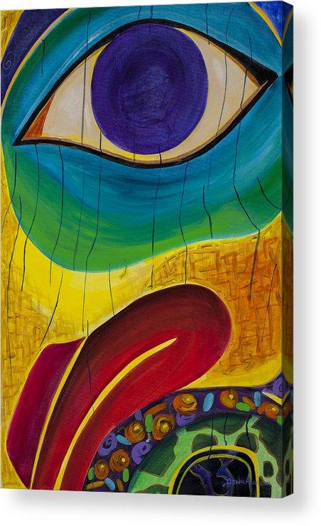 Eye Totem Raven Alaska Alaskan Native Acrylic Print featuring the painting Bird's Eye by Dawn Aumann