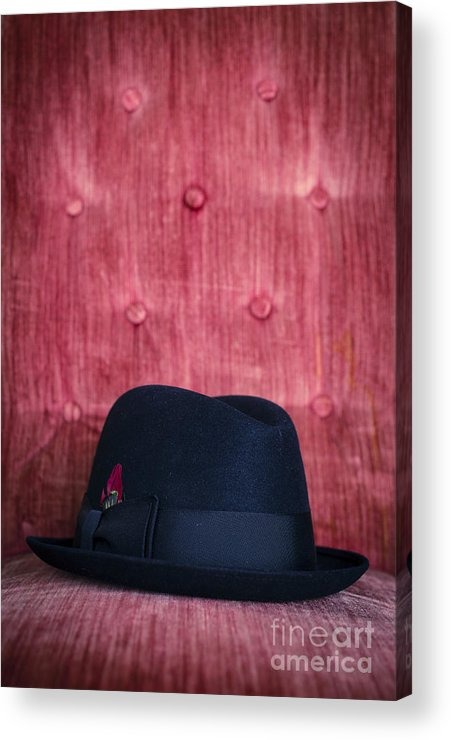 Studio Acrylic Print featuring the photograph Black Hat On Red Velvet Chair by Edward Fielding