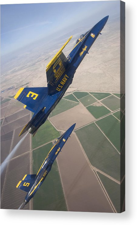 Us Navy Usn Blue Angels Aerobatic Formation Team Hornet F-18 F/a-18 Loop Aircraft Aeroplane Plane Jet Pilot California El Centro Boeing Stunt Military Acrylic Print featuring the photograph Blue Angels by Mike Jorgensen