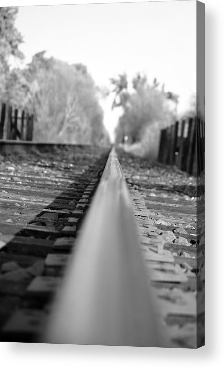 Blurred Track Rail Lines Railroad Orchard Vina Ca Acrylic Print featuring the photograph Blurred Track by Holly Blunkall
