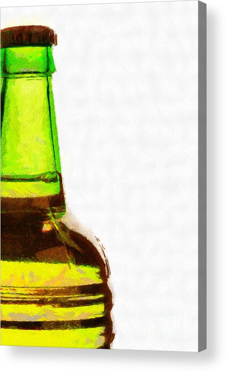 Nobody Acrylic Print featuring the painting Bottle Neck Against White Painting by Magomed Magomedagaev
