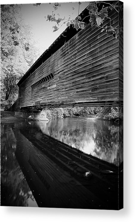 Black And White Acrylic Print featuring the photograph Bridge In Black And White by Michael Porchik