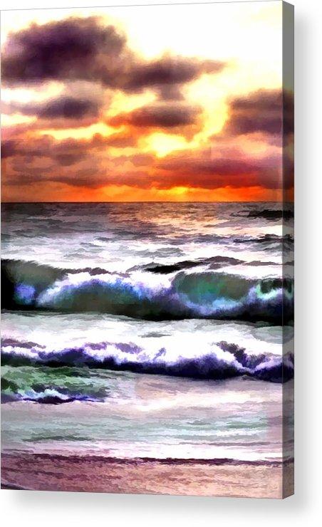 Ocean Acrylic Print featuring the painting Brilliant Nags Head Sunrise by Elaine Plesser
