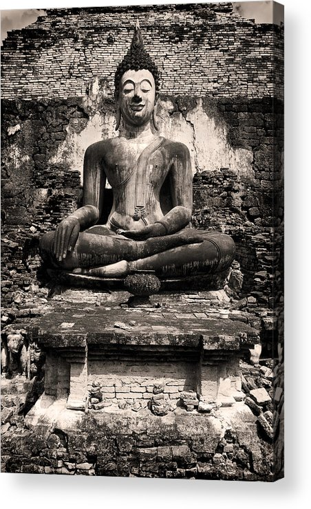 Antique Acrylic Print featuring the photograph Buddha In Meditation Statue by Artur Bogacki