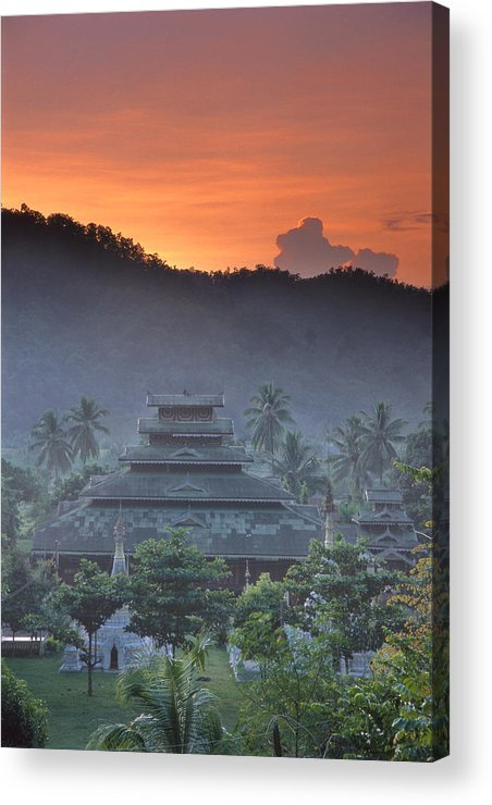 Buddhist Acrylic Print featuring the photograph Buddhist Temple At Sunset by Richard Berry