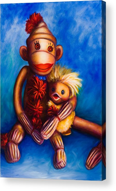 Sock Monkeys Brown Acrylic Print featuring the painting Buddies by Shannon Grissom