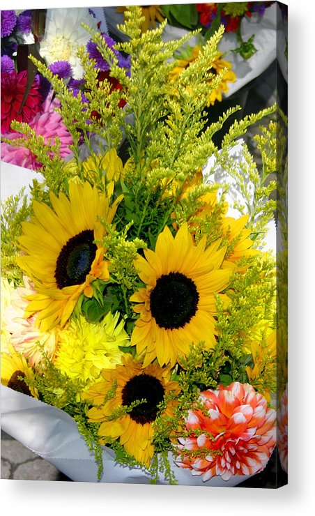 Sunflowers Acrylic Print featuring the photograph Bunch Of Sunflowers by Wendy Raatz Photography
