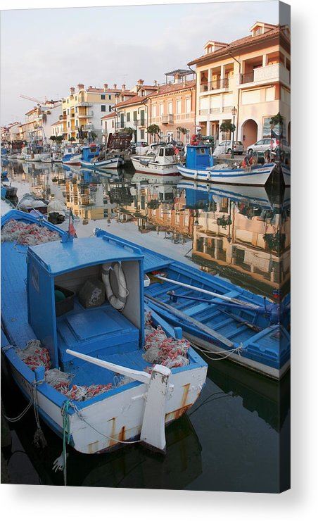 Adriatic Acrylic Print featuring the photograph Canal In Grado With Fishing Boats by Ulrich Kunst And Bettina Scheidulin