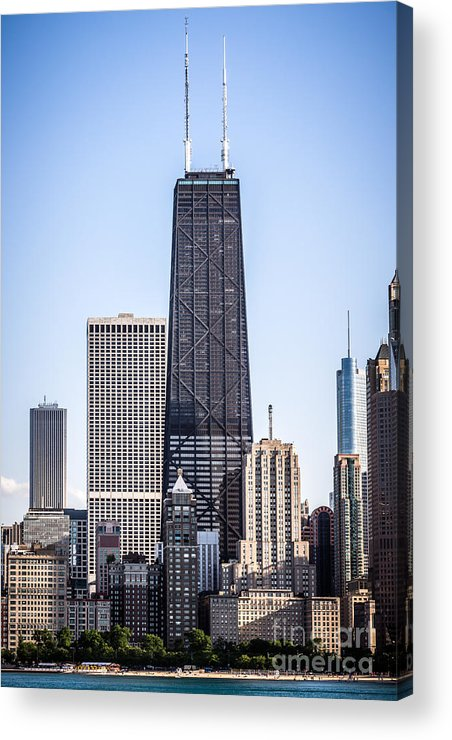 America Acrylic Print featuring the photograph Chicago At Night With John Hancock Building by Paul Velgos