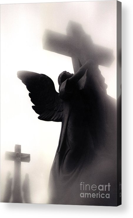 Spiritual Angel Art Acrylic Print featuring the photograph Angel With Jesus On Cross - Christian Art Cross - Spiritual Angel On Cross by Kathy Fornal