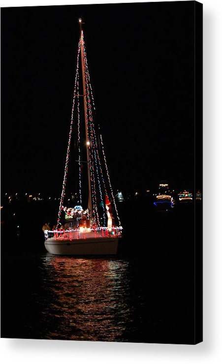 Sailboat Acrylic Print featuring the photograph Christmas Sailboat by Candy L Hill