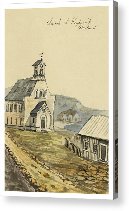 Faroese Acrylic Print featuring the painting Church At Rejkjavik Iceland 1862 by Aged Pixel