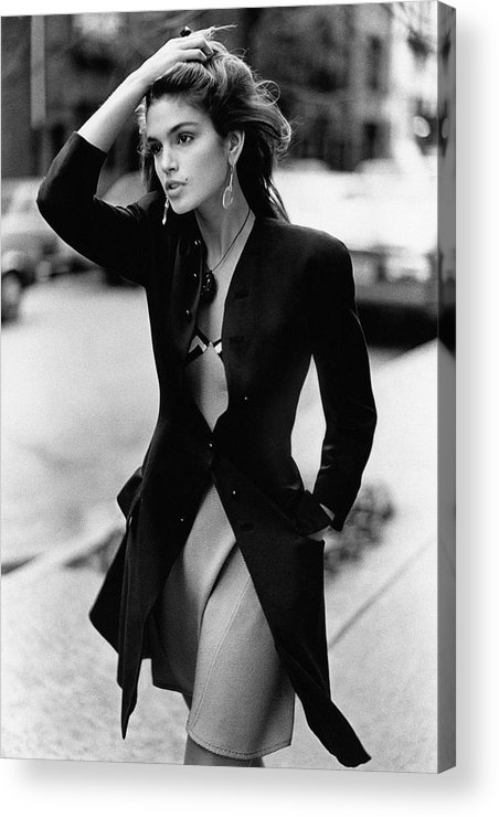 Accessories Acrylic Print featuring the photograph Cindy Crawford Wearing A Wool Coat Over A Slip by Arthur Elgort