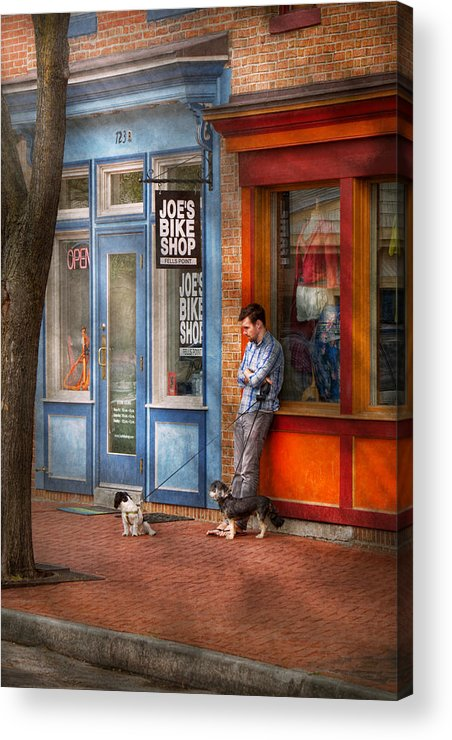 Baltimore Acrylic Print featuring the photograph City - Baltimore Md - Waiting By Joe's Bike Shop by Mike Savad