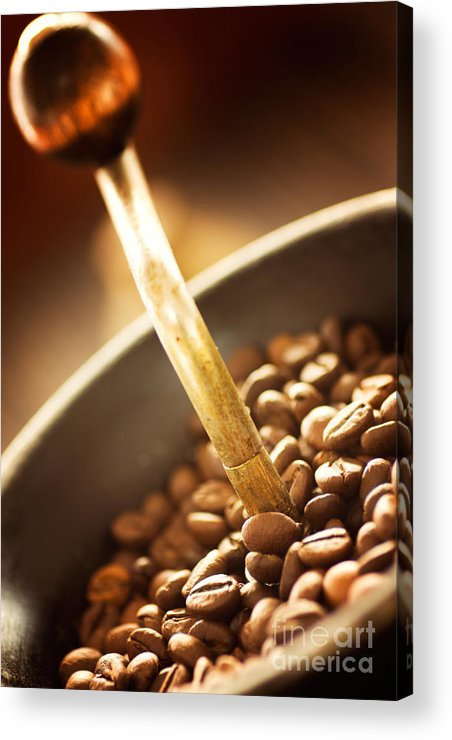 Aroma Acrylic Print featuring the photograph Coffe Beans In The Grinder by Mythja Photography