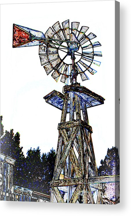 Drawing Acrylic Print featuring the mixed media Color Drawing Antique Windmill 3005.05 by M K Miller