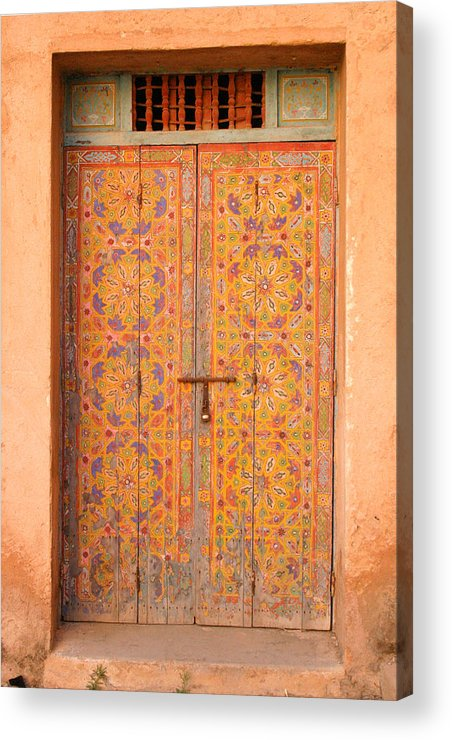 Door Acrylic Print featuring the photograph Colourful Entrance Door Sale Rabat Morocco by Ralph A Ledergerber-Photography