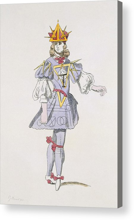 Baroque Acrylic Print featuring the drawing Costume Design For Geometry In A 17th by French School