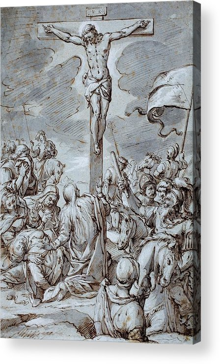 Crucifixion Acrylic Print featuring the drawing Crucifixion by Johann or Hans von Aachen