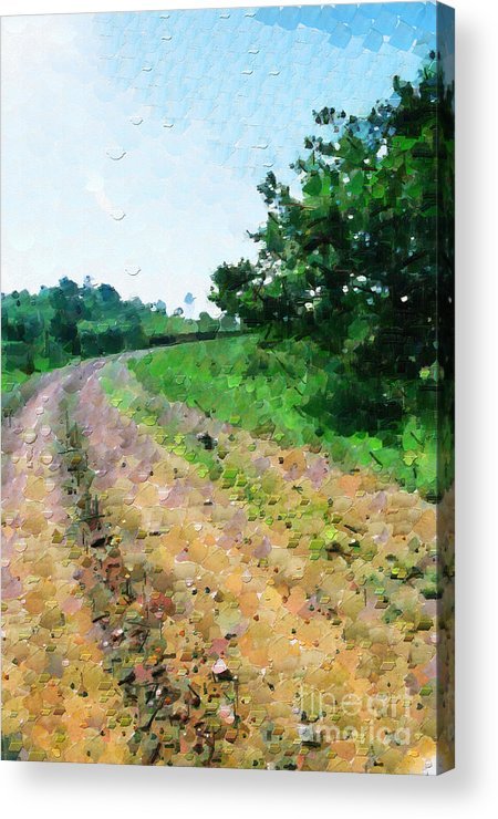Ethiopia Acrylic Print featuring the painting Curved Road Painting by George Fedin and Magomed Magomedagaev