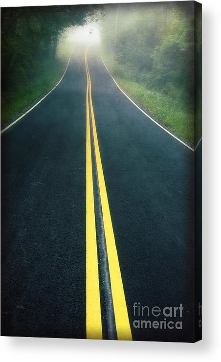 Foggy Acrylic Print featuring the photograph Dark Foggy Country Road by Edward Fielding