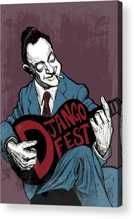 Django Acrylic Print featuring the drawing Djangofest by Thomas Seltzer