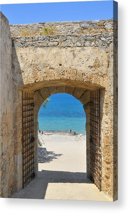 Serenity Acrylic Print featuring the photograph Door To Joy And Serenity - Beautiful Blue Water Is Waiting by Matthias Hauser