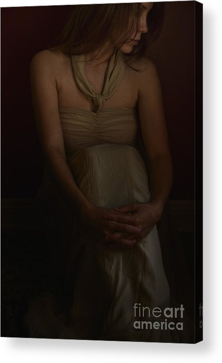 Caucasian; Woman; Lady; Female; Pretty; Beautiful; Brunette; Gold; Golden; Dress; Prim; Proper; Feminine; In Thought; Thinking; Sad; Dark; Darkness; Sitting; Corner; Shadows; Shroud Acrylic Print featuring the photograph Dreams by Margie Hurwich