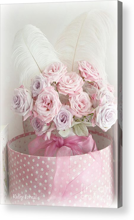 Cottage Chic Pink Flowers Acrylic Print featuring the photograph Dreamy Shabby Chic Roses In Pink Polka Dot Hat Box - Romantic Roses Floral Bouquet by Kathy Fornal