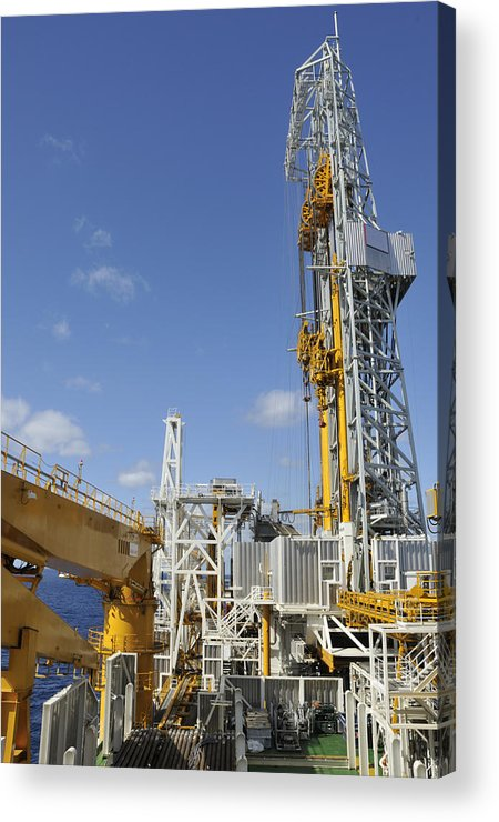 Oil Rig Acrylic Print featuring the photograph Drillship Deck And Tower by Bradford Martin