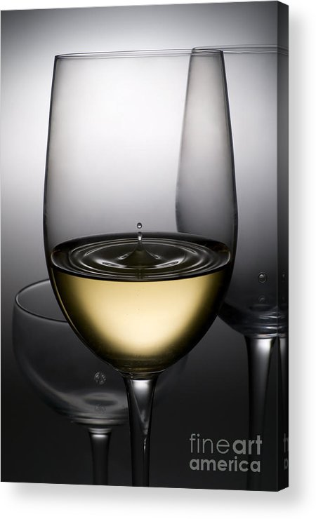 Abstract Acrylic Print featuring the photograph Drops Of Wine In Wine Glasses by Setsiri Silapasuwanchai