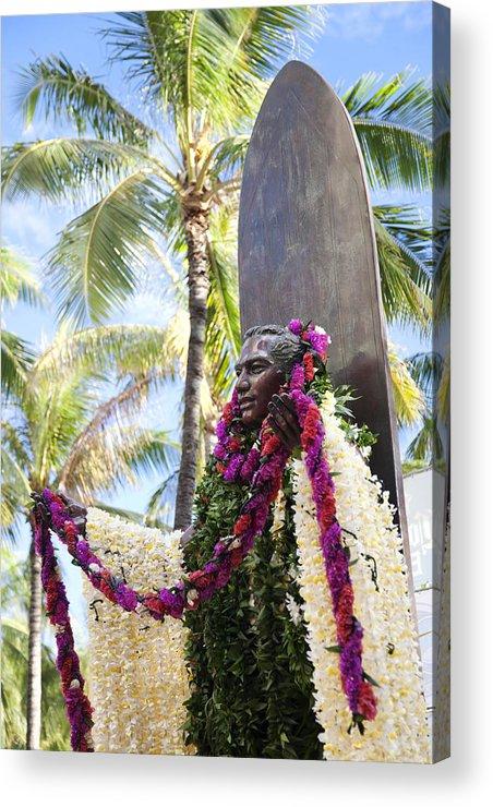 Aloha Acrylic Print featuring the photograph Duke Kahanamoku Covered In Leis by Brandon Tabiolo