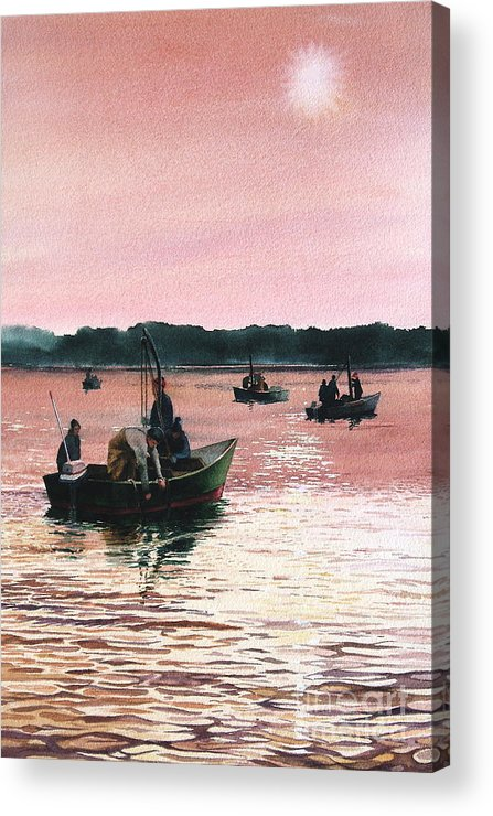 Sunrise Acrylic Print featuring the painting Early Morning Scallopers by Karol Wyckoff