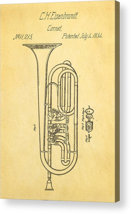 Famous Acrylic Print featuring the photograph Eisenbrandt Cornet Patent Art 1854 by Ian Monk