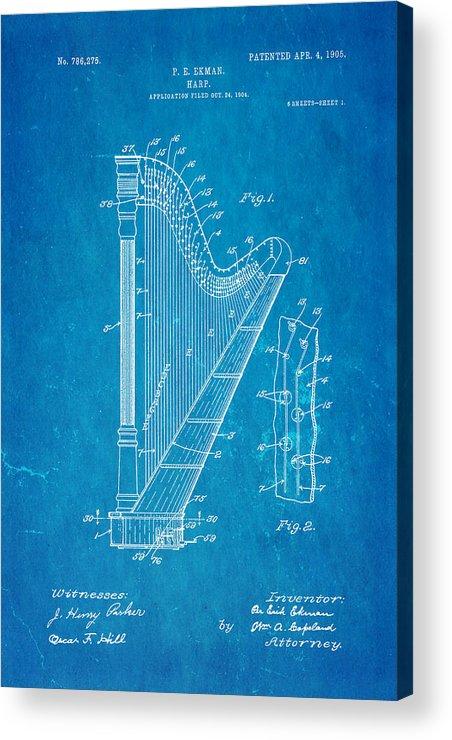 Famous Acrylic Print featuring the photograph Ekman Harp Patent Art 1905 Blueprint by Ian Monk