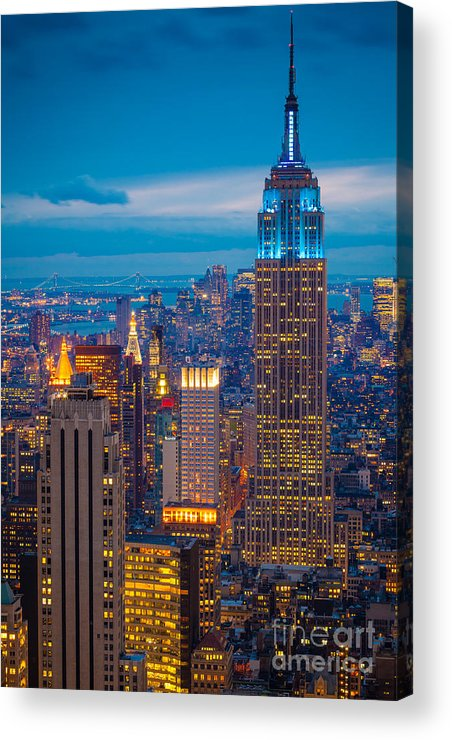 America Acrylic Print featuring the photograph Empire State Blue Night by Inge Johnsson