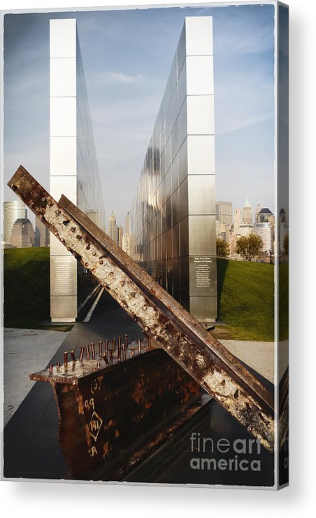 Empty Sky Acrylic Print featuring the photograph Empty Sky New Jersey September 11th Memorial by George Oze