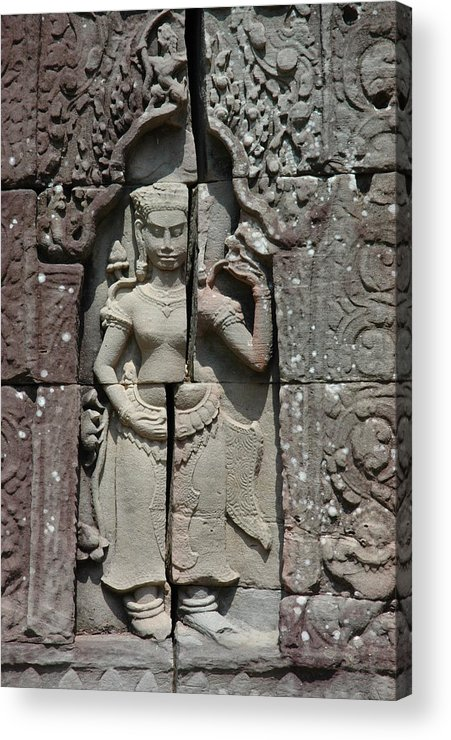 Architectute Cambodia Asia Monuments Stone Temple Old Godess Carving Sculpture Acrylic Print featuring the photograph Eternity by Ira Zamora