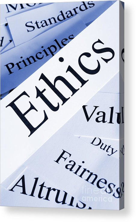 Concept Acrylic Print featuring the photograph Ethics Concept by Colin and Linda McKie