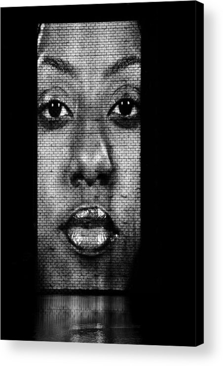 Mouth Acrylic Print featuring the photograph Face To Face - Crown Fountain Chicago by Christine Till