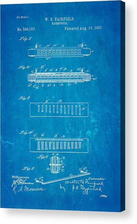 Famous Acrylic Print featuring the photograph Fairfield Harmonica Patent Art 1897 Blueprint by Ian Monk